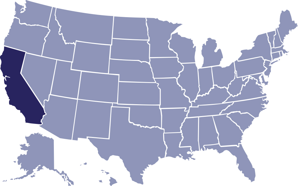 U.S. map with 49 states at a lower opacity, but California state is a dark blueish/purple color against a white background.