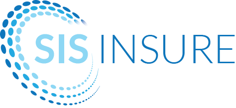 SIS Insure logo. The logo says 'SIS Insure' and has three layers of small blue & green dots circling the word 'SIS'.