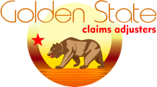 A gold and yellow version of the Bear Flag against a black background that says 'Golden State claim adjusters'.