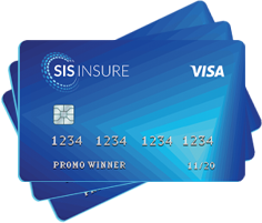 Graphic of three blue debit cards stacked on top of one another that contain the text 'SIS Insure, Visa, Promo Winner'.