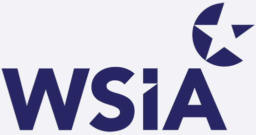 Blueish/purple text that says 'WSIA' with a symbol in the top-right corner of a blueish/purple and white star.