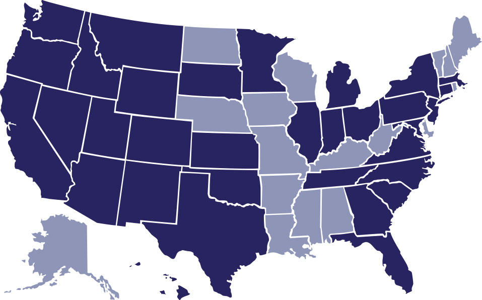 U.S. map with some states at a lower opacity and other states are a dark blueish/purple color against a white background.